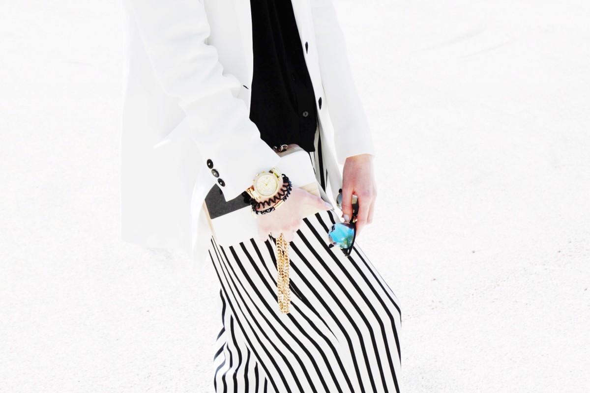 Black-White Stripes with Beige Details
